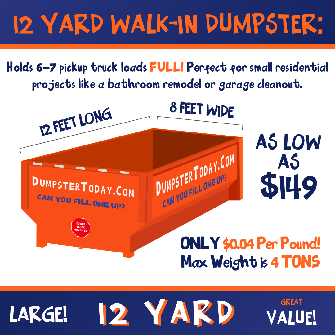 Dumpster Rental Columbus 12 Yard $149 plus .04 cents lb.