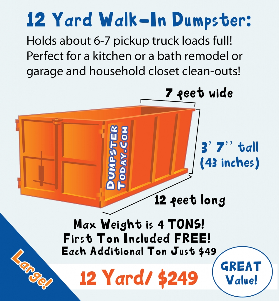 12 Yard Dumpster Rental in Orlando - holds 6 to 7 truck-bed loads of trash!