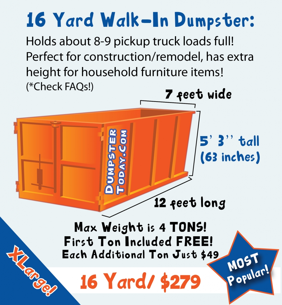 16 Yard Dumpster Rental in Orlando - holds 8 to 9 truck-bed loads of trash!